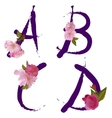 Spring alphabet with gentle sakura flowers ABCD vector image