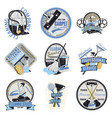 colored cleaning company logotypes set vector image vector image