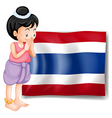 A young girl from Thailand standing in front of vector image