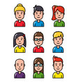 avatar portrait young smiling people characters vector image