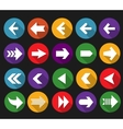 Back and next arrow flat icons with long shadows vector image