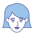 blue silhouette of woman with the hair down to the vector image