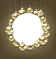 Christmas Golden Glowing Balls with Clean Card vector image