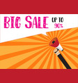 hand holding megaphone to speech - big sale up to vector image