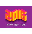 New Year 2016 isometric vintage retro 3d font card vector image