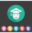 Student in graduation cap flat icon vector image