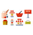 supermarket grocery shopping retro cartoon icons vector image