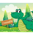 A crocodile beside a wooden signboard vector image