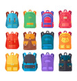 colorful backpacks flat collection vector image