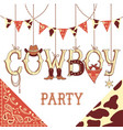 Cowboy party text background isolated on white vector image