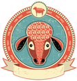 sheep head label vector image vector image