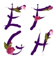 spring alphabet with gentle sakura flowers EFGH vector image