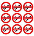 Stickers set  symbols No smoking area vector image