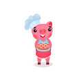 cute smiling pig chef character holding freshly vector image