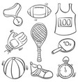 doodle of sport equipment object collection vector image