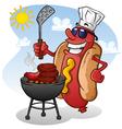 Hot Dog Cartoon Character Grilling vector image