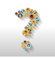 Question mark made up of people with avatars long vector image