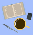 workplace desk book and a cup of coffee top angle vector image