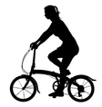 Silhouette of a cyclist girl vector image