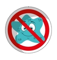 bacterium comic character with denied sign icon vector image