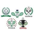 Assorted tennis tournament symbols vector image