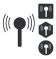 Signal icon set monochrome vector image