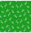 Seamless pattern with white rabbits over green vector image