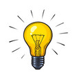 cartoon glowing yellow light bulb vector image