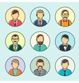 Colorful Male Faces Set Line Style vector image