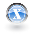 glossy icon letter x vector image