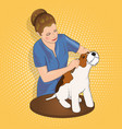 master salon for animals trimming the dog vector image