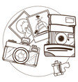 photos and cameras a top view outline on the vector image