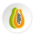 sliced fresh papaya icon circle vector image