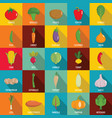 vegetables icons set flat style vector image
