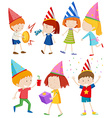 Children doing different things at party vector image