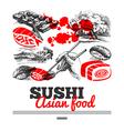 Japanese sushi menu background vector image