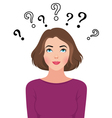 Portrait of a a thinking young woman asks question vector image