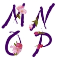 spring alphabet with gentle sakura flowers MNOP vector image