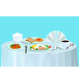 dinner with salad fish tea vector image