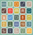 Gardening line flat icons on green background vector image