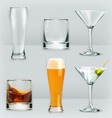 Glasses alcohol drink icon set vector image