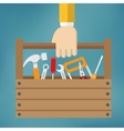 Hand with toolbox vector image