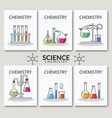 set of scientific laboratory research cards vector image