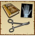 X-rays hand medical book and surgical instrument vector image