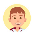 young boy with broad sincere smile round portrait vector image