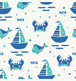 seamless pattern with sailing ship fish and crabs vector image