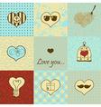 Stylish set of nine hand drawn hearts vector image