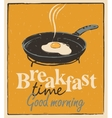 breakfast time with a frying pan and fried eggs vector image