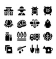agriculture farm icon set vector image