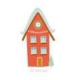 Christmas card with winter character house vector image